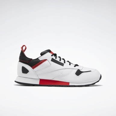 Boys Classics White Classic Leather Ree:Dux Shoes - Grade School