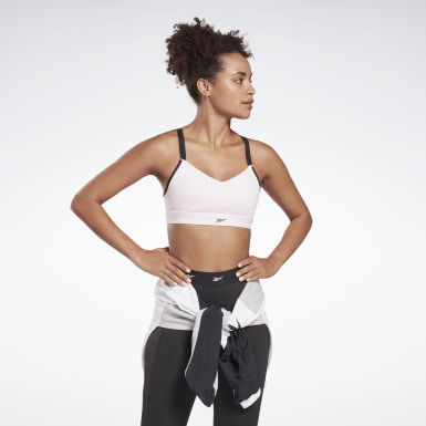 Frauen Studio Reebok Hero Medium-Impact Strappy Bra Rosa