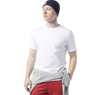 Men Fitness & Training White Cotton Crew Tee