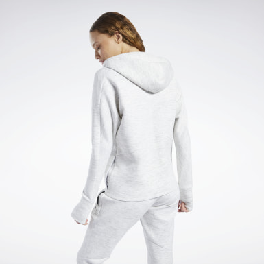 Felpa con cappuccio United by Fitness Doubleknit Full-Zip Bianco Donna Hiking