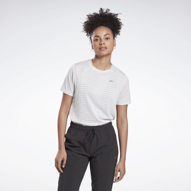 Women Running White Run Jacquard Tee