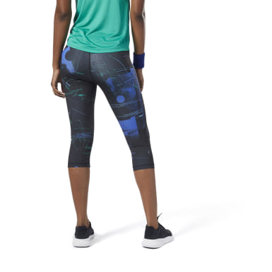 Women Training Blue Workout Ready AOP Capris
