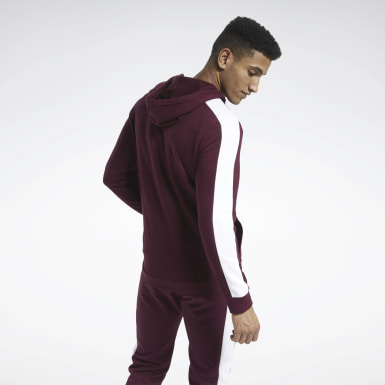 Men Fitness & Training Burgundy Training Essentials Logo Hoodie