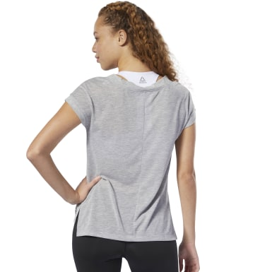 Women Fitness & Training Grey WOR Supremium Detail Tee