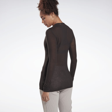 Frauen Yoga Studio Ribbed Long Sleeve Shirt Schwarz