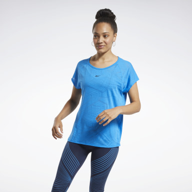 Women Yoga Blue Burnout T-Shirt