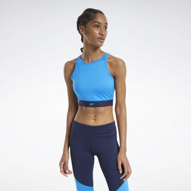 Women Fitness & Training Blue Mesh Crop Top