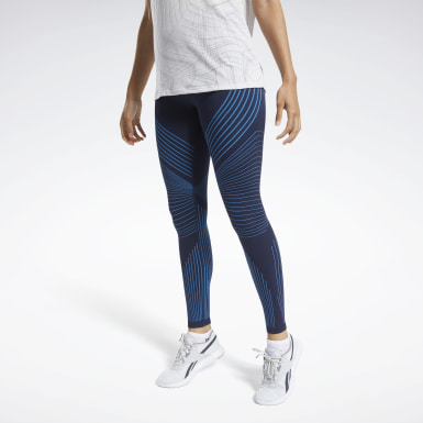 Women Hiking Blue Seamless Leggings