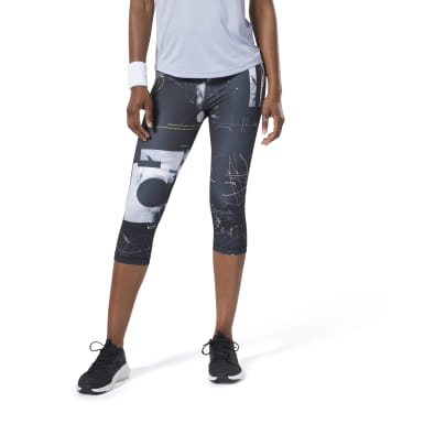 Women Training Black Workout Ready AOP Capris