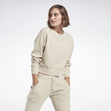 Women Yoga Beige Studio Layer Sweatshirt