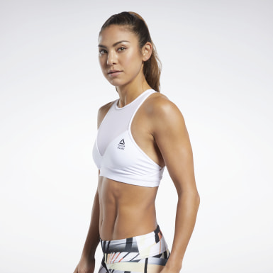 Women Training White Reebok CrossFit® Medium-Impact Mesh Bra
