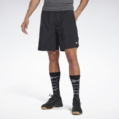 Men Training Black Reebok Austin Solid Shorts
