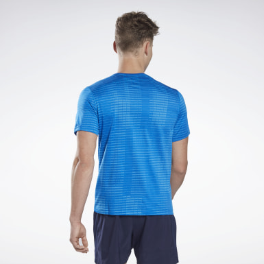 T-shirt Run Jacquard Blue Hommes Course