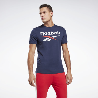 Men Fitness & Training Blue Graphic Series Reebok Stacked Tee