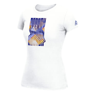 Women Training White Reebok Warped Chroma Tee
