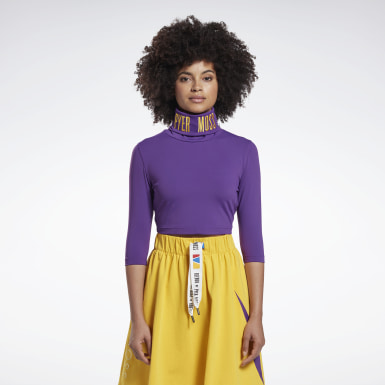 Women Classics Purple Reebok by Pyer Moss Embroidered Cropped Mock Neck Sweatshirt