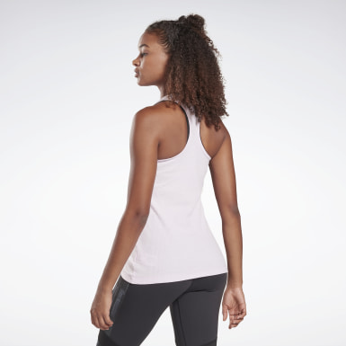 Women Studio Pink LES MILLS® Rib Knit Tank Top