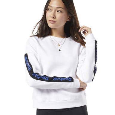 Women Fitness & Training White Training Essentials Logo Crew Sweatshirt