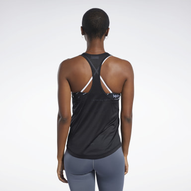 Women Yoga Black Mesh Back Tank Top