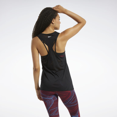 Women Yoga Black Burnout Tank Top