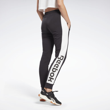 Women Fitness & Training Black Linear Logo French Terry Pants
