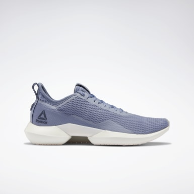 Women Running Blue Reebok Interrupted Sole Women's Shoes