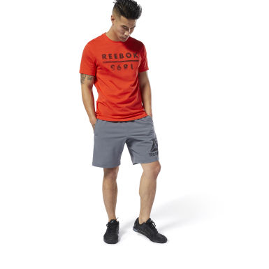 Men Training Grey WOR Woven Graphic Shorts