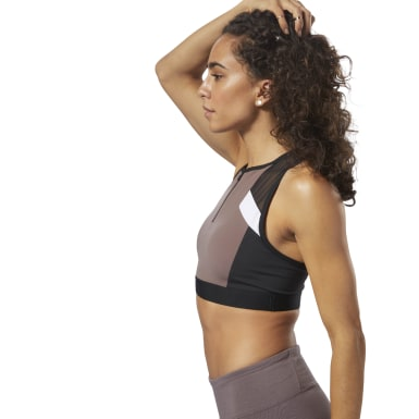 Women Fitness & Training Purple Colour Block Crop Top