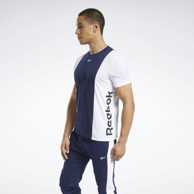 Mænd Fitness & Training Blue Training Essentials Linear Logo Tee