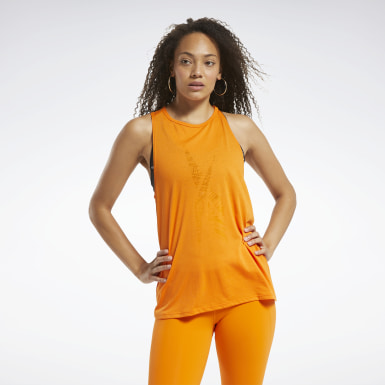 Women Training Orange Burnout Tank Top
