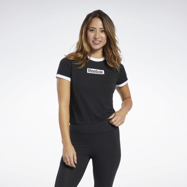 Women Fitness & Training Black Training Essentials Linear Logo Tee