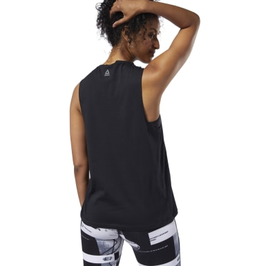 Women Training Black Meet You There Reebok Muscle Tank Top