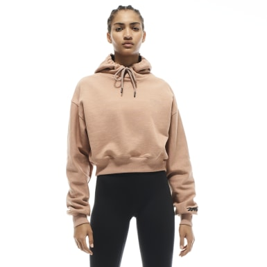 Women Training Beige VB Cropped Hoodie