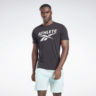 T-shirt Vector Graphic Athlete Noir Hommes Fitness & Training