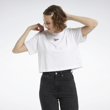Camiseta cropped Blanco Mujer Classics