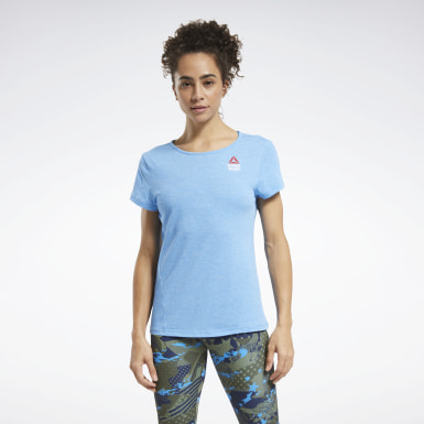 Women Cross Training Blue Reebok CrossFit® Games ACTIVCHILL+COTTON T-Shirt