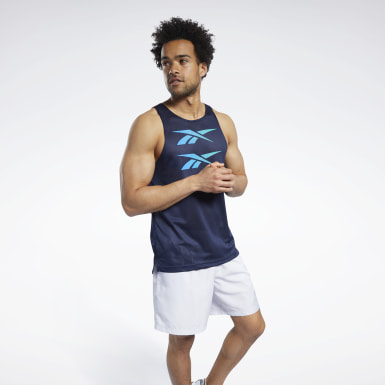 Men Fitness & Training Blue Mesh Tank Top
