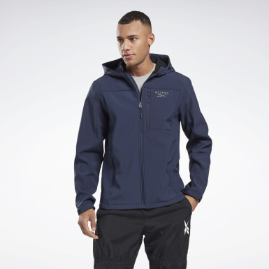 Heren Wandelsport Blauw Softshell Jack