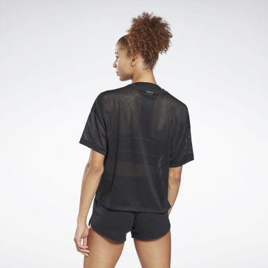 Camiseta 100% Mesh Poliéster Reciclado Relaxed Fit Preto Mulher Fitness & Training