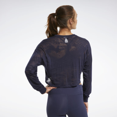 Women Training Blue CrossFit® Burnout Long Sleeve Tee