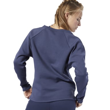 Felpa Training Supply Crew Blu Donna Yoga