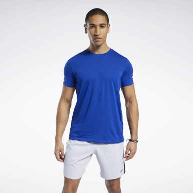 Men Cross Training Blue Workout Ready Jersey Tech Tee