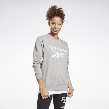 Women Fitness & Training Grey Reebok Identity Logo French Terry Crew Sweatshirt