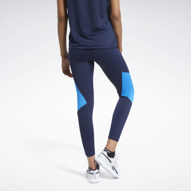 Women Fitness & Training Blue Reebok Lux Bold Mesh 2 Tights