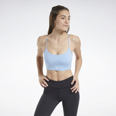 Women Pilates Blue Workout Ready Low-Impact Tri Bra