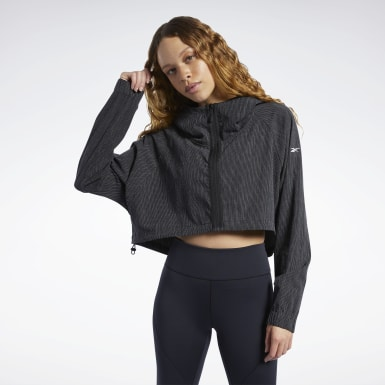 Women Fitness & Training Black Crop Jacket