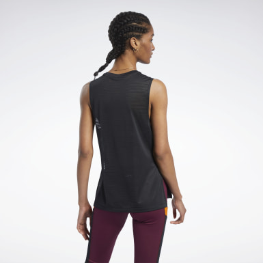 Kvinder Cycling Black Workout Ready Mesh Tank Top