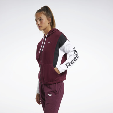 TE Linear Logo FL Fullzip Granate Mujer Fitness & Training