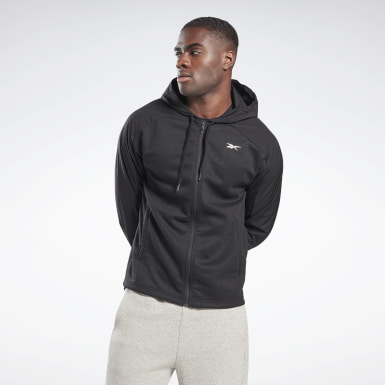 Men Fitness & Training Black Knit-Woven Zip-Up Hoodie