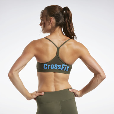 Women Training Green CrossFit® Skinny Strap Read Medium-Impact Bra
